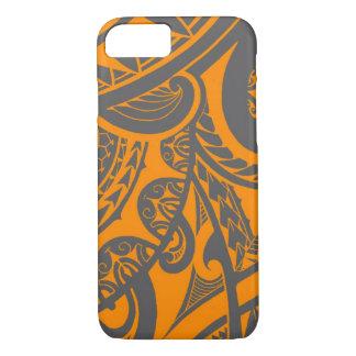 Orange and grey tribal tattoo art drawing iPhone 8/7 case