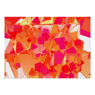 Orange and hot pink abstract poster