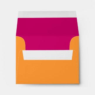 Orange and Hot Pink Address Wedding RSVP Envelope