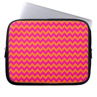 Orange and Hot Pink Chevron Pattern Laptop Sleeve
