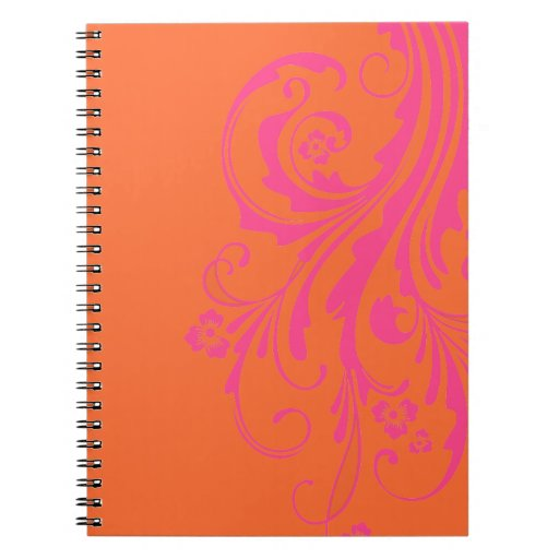 Orange and Hot Pink Floral Chic Wedding Note Book