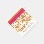 Orange and Hot Pink Floral Damask Paper Napkins