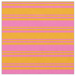 [ Thumbnail: Orange and Hot Pink Lines Fabric ]