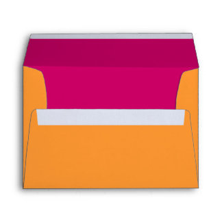 Orange and Hot Pink Return Address Wedding Envelope