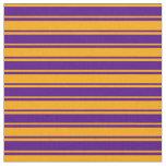 [ Thumbnail: Orange and Indigo Colored Stripes/Lines Pattern Fabric ]