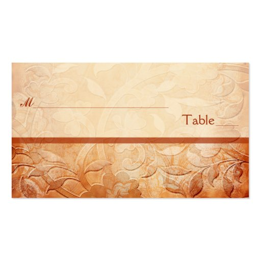 Orange and Ivory Floral Placecards Business Card Templates