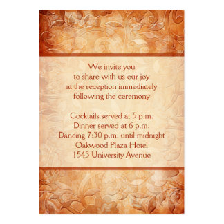 Orange and Ivory Floral Reception Enclosure Card