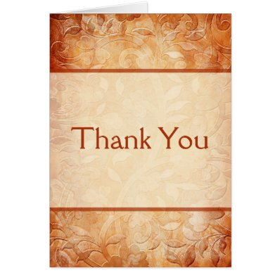 Orange and Ivory Floral Thank You Note Card