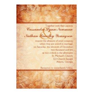 Orange and Ivory Floral Wedding Invitation