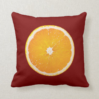 Orange and Lemon Slice on Red Throw Pillow