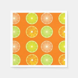 Orange and lemon slices paper napkins. paper napkin