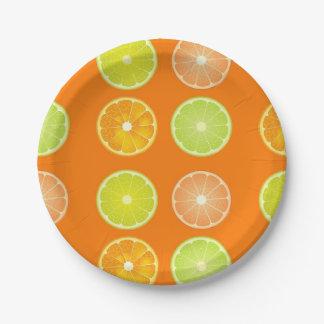 Orange and lemon slices paper plates. paper plate