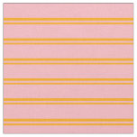 [ Thumbnail: Orange and Light Pink Colored Lines Fabric ]
