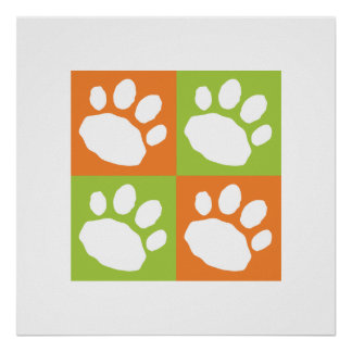 Orange and Lime Green Checkerboard Paw Print