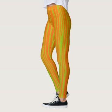 Halloween Themed Orange and Lime Stripes Leggings by JP Choate