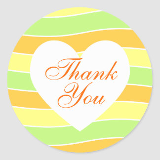 Orange and Lime Yellow Wavy Stripe Thank You Classic Round Sticker