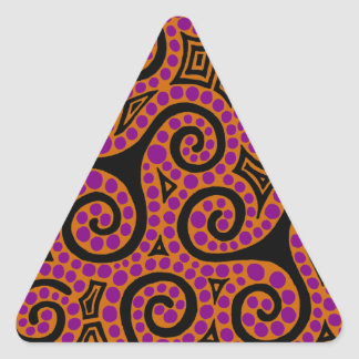 Orange and Magenta Spirals x3 Triangle Sticker
