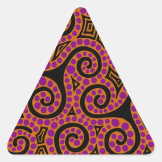 Orange and Magenta Spirals x3 Triangle Sticker