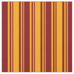 [ Thumbnail: Orange and Maroon Colored Lines Pattern Fabric ]