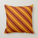 [ Thumbnail: Orange and Maroon Colored Lines Pattern Pillow ]