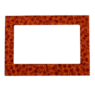 Orange and Maroon Star Team Spirit Sports Colors Picture Frame Magnets