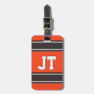 Orange and Medium Brown Sport Stripes Personalized Bag Tag