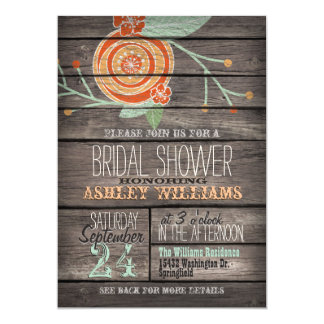 Orange and Mint Green Rustic Wood Bridal Shower Card