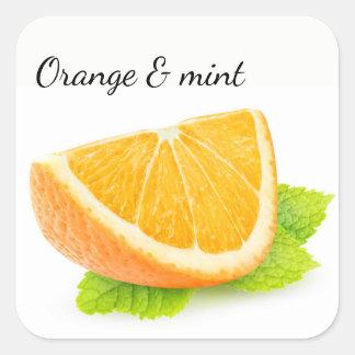 Orange and mint square sticker