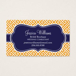 Orange and Navy Blue Greek Key Pattern Business Card