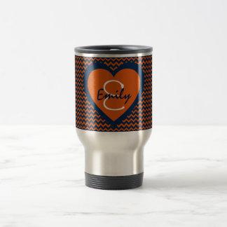 Orange and Navy Blue Monogram Travel Mug