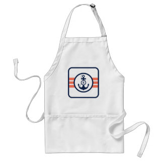 Orange and Navy Blue Nautical Monogram Adult Apron