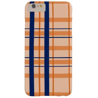 Orange and Navy Blue Plaid iPhone Case
