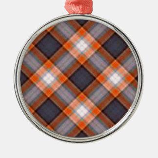 Orange and Navy Blue Plaid Metal Ornament