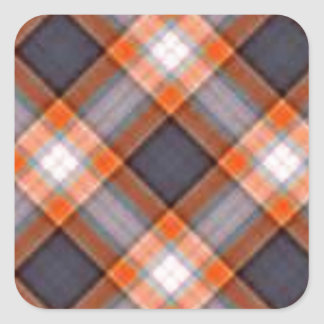 Orange and Navy Blue Plaid Square Sticker