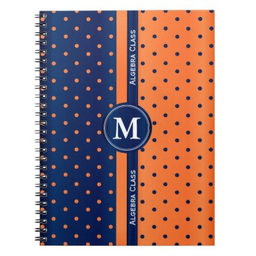 Aztec Themed Orange and Navy Blue Polka Dots Notebook