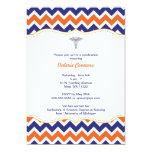"Orange and Navy Chevron Nurse Graduation Invite RN 5"" X 7"" Invitation Card"
