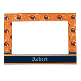 Orange and Navy Footballs Magnetic Picture Frame
