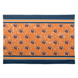 Orange and Navy Footballs Placemats
