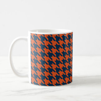 Orange and navy houndstooth coffee mug