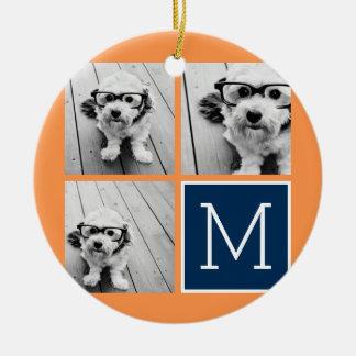 Orange and Navy Instagram Photo Collage Monogram Ceramic Ornament