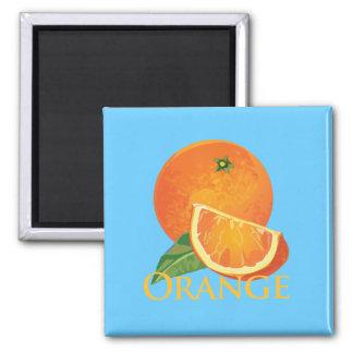 Orange and Orange Slice 2 Inch Square Magnet