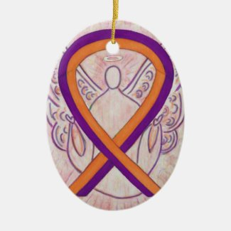 Orange and Orchid Awareness Ribbon Angel Ornament