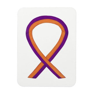Orange and Orchid Awareness Ribbon Custom Magnets