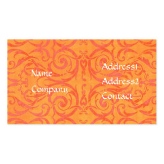orange and peach damask business card Template