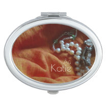 Orange and Pearl Autism Compact Mirror