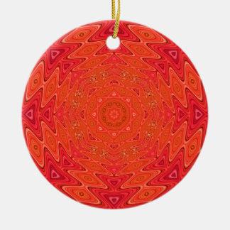 Orange and Pink Abstract Sun Mandala Ceramic Ornament