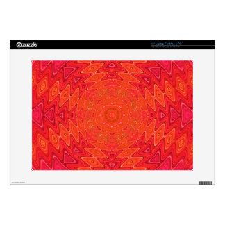 Orange and Pink Abstract Sun Mandala Decal For Laptop