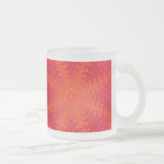 Orange and Pink Abstract Sun Mandala Frosted Glass Coffee Mug