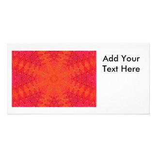 Orange and Pink Abstract Sun Mandala Photo Cards