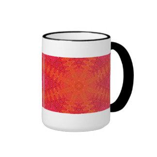 Orange and Pink Abstract Sun Mandala Ringer Mug